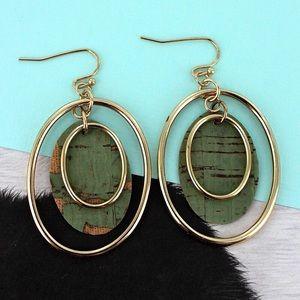 Gold Mint Cork Layered Dangle Drop Trendy Earrings